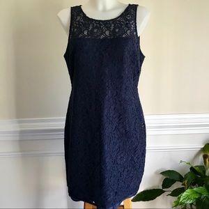 J. Crew navy blue lace dress
